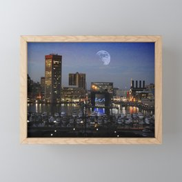 Inner Harbor Moon Rise, Baltimore, Maryland  Framed Mini Art Print
