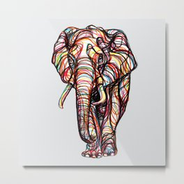 elephant line style - elefante - éléphant Metal Print
