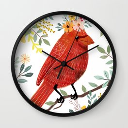 Red Bird with Floral Crown Wall Clock
