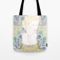 marie antoinette Tote Bags featuring MARIE ANTOINETTE by Itxaso Beistegui Illustrations