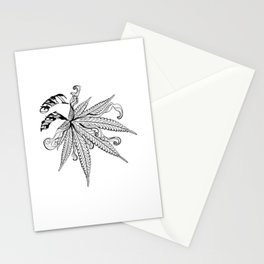 Marijuana leaf with smoke Stationery Cards
