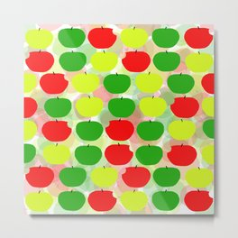 Summer Apple Picking Green, Red and Yellow Metal Print