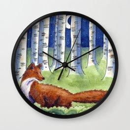 Fox and the Moon Wall Clock