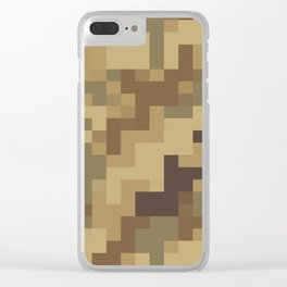 Army Camouflage Pixelated Pattern Brown Dirt Desert Clear iPhone Case