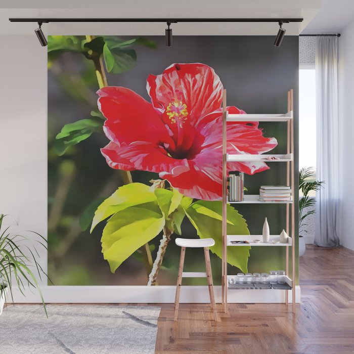 Beautiful Red Tropical Hibiscus Flower Wall Mural By Taiche Society6
