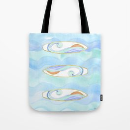 Surfboard retro watercolor Tote Bag