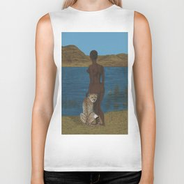 Woman & Cheetah Biker Tank