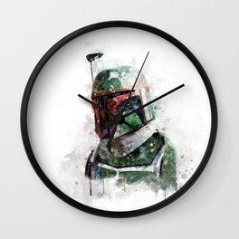 Boba Fett watercolor Wall Clock