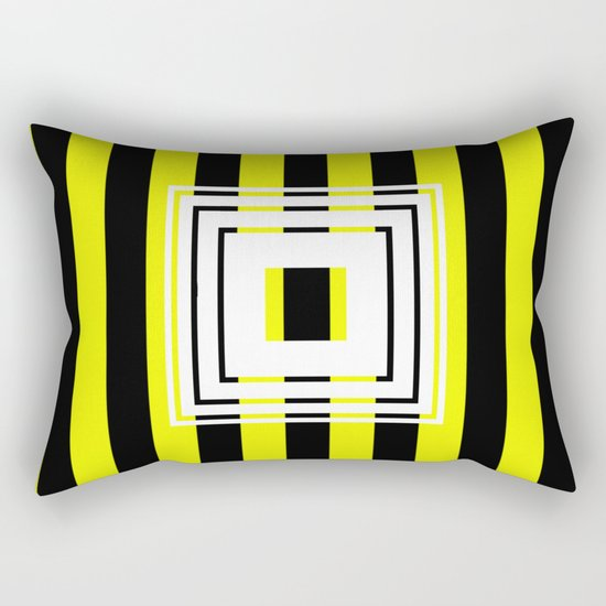 Bumblebee Box - Geometric, bold, yellow and black striped design Rectangular Pillow