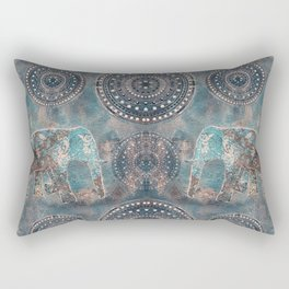 Elephant Ethnic Style Pattern Teal and Copper Rectangular Pillow