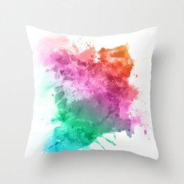 Watercolour splatter in rainbow colours Throw Pillow