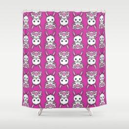 Kawaii Pink Bunny Pattern Shower Curtain