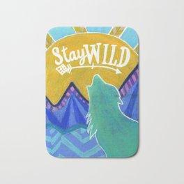 Stay Wild Wolf Sunset Bath Mat