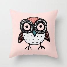 Little Pink Owl Throw Pillow