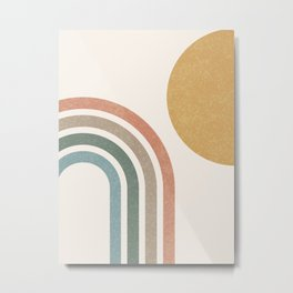 Mid Century Colorful Sun & Rainbow Metal Print