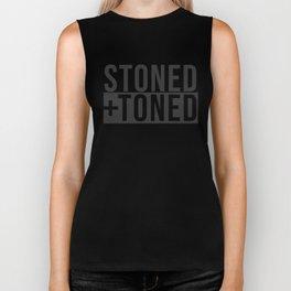 Stoned+Toned Logo - Black on Black Biker Tank