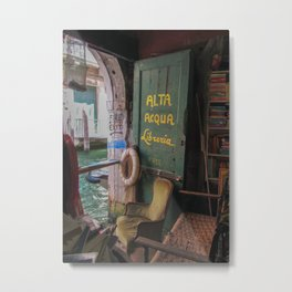 Bookstore on the Canal - Venice, Italy Metal Print