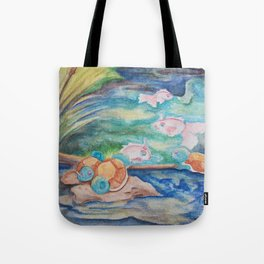 Pond With Squirtle And Goldeen Tote Bag