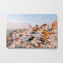 Dreaming at Dusk   Santorini, Greece Metal Print