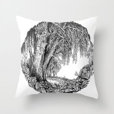 Tree and flowers Throw Pillow