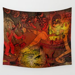 Akaname yokai licks geisha foot under Japan masks Wall Tapestry
