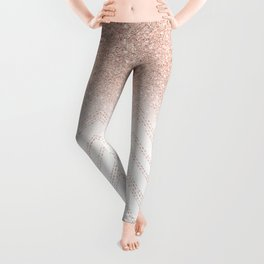 Modern faux rose gold glitter ombre modern chevron stitches pattern Leggings