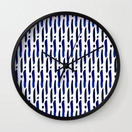 Shibori Dots and Clubs Wall Clock