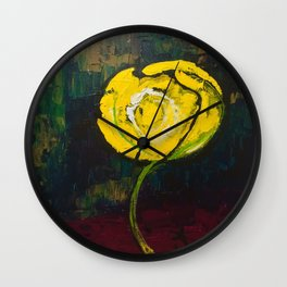 Golden Yellow Rose Acrylic Wall Clock