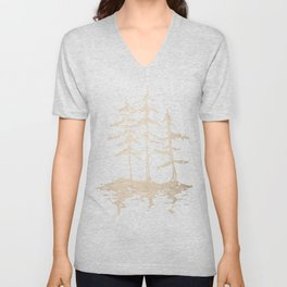 Three Sisters Forest White Gold Trees Unisex V-Neck