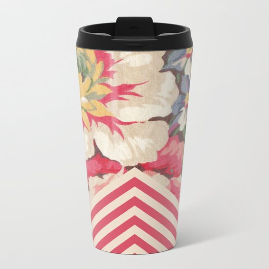 Floral Chevron Metal Travel Mug