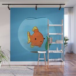 Goldfish in a bowl: Happy! Wall Mural