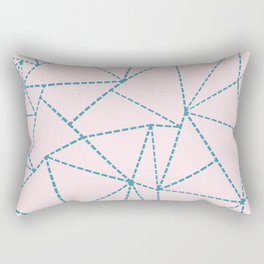 Ab Dotted Lines Blue on Pink Rectangular Pillow