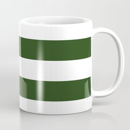 Large Dark Forest Green and White Cabana Tent Stripes Coffee Mug
