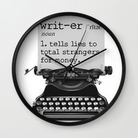 writer Wall Clocks featuring Writer Defined by Nicole Austin