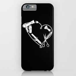 Barber Hairdresser Scissors Comb As A Heart Gift iPhone Case