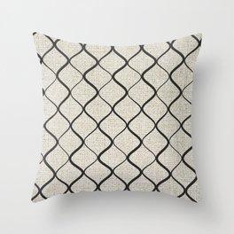Black Bege Modern Lines Pattern Throw Pillow