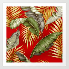 HAWAIIAN GARDEN TROPICAL LEAVES | tomato red gold Art Print