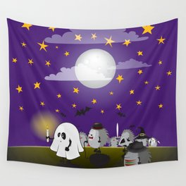 halloween hedgehogs party gang Wall Tapestry