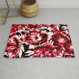 Red Black Abstract Flower Pattern  #Dahlias #Flowers Rug