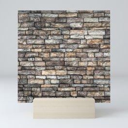 Stone Wall Slabwork in Grey Beige Granite Mini Art Print