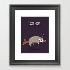 Sloth card - good night Framed Art Print