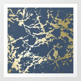 Kintsugi Ceramic Gold on Indigo Blue Art Print