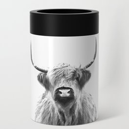 Black and White Highland Cow Portrait Can Cooler