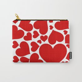CLUSTERED RED VALENTINE HEARTS ON WHITE Carry-All Pouch