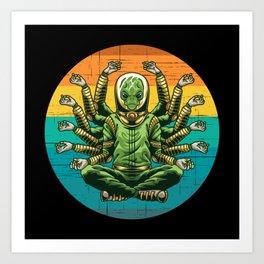 Meditating Alien on Retro Background Art Print