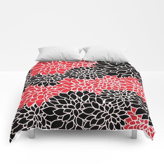 Black & Red Pattern Comforters