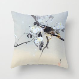 Watanabe Seitei - Cherry Blossoms and Bird - Digital Remastered Edition Throw Pillow