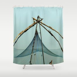 Fishing Net in Cochin India Shower Curtain
