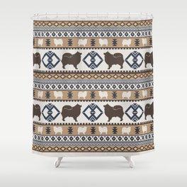 Boho dogs | Finnish lapphund/Suomenlapinkoira tan Shower Curtain