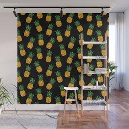 Pineapple Black Wall Mural